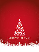 Vertical vector illustration of a creative bright red color background with one creative modular white christmas tree with text ' Merry Christmas' written at the bottom.  Apt for Xmas, Christmas, New Year Day New year's eve, holiday, vacation, vacations  theme backgrounds, greeting cards, posters and backdrops, gift wrapping paper. The tree is made up of smaller trees and other Xmas ornaments, stars, confetti, striped balls, baubles.