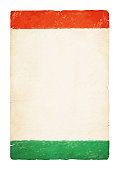 A vertical vector illustration of tricolour flag in three bands in saffron, white and green colors. The orange and green at the top and bottom, blend into the off white central band. A peaceful patriotic theme faded wallpaper. Apt for use of national festivals of India like Republic Day and Independence Day. Same colours also appear in flags of Niger, Ireland and Côte d'Ivoire (Ivory Coast).