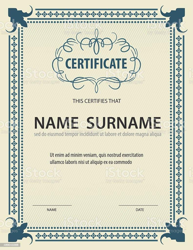 Vertikal Vintage Zertifikat Vorlage Diplom Letter Größe ...