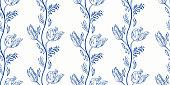Vertical blue antique porcelain floral border. Vintage kitchen, hand drawn botany tulip garland design. Line art florals on white background. Elegant nature background. Perefect for kitchen utensils, textile and home decor.