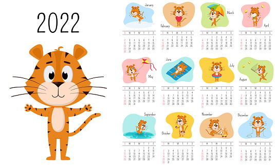 Vertical Wall Calendar Template 2022. Week starts on Sunday. Ready-to-print calendar with Chinese year symbol cartoon Tiger. A set of 12 pages and a cover. All months.Multi-colored background