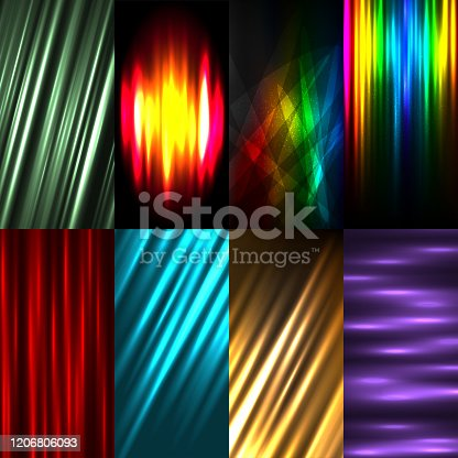 Vertical wallpaper multicolors light rays backgrounds set. Bright color abstract smartphone backdrop. Promo advertising banner template