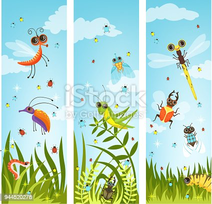 Vertical web banners with illustrations of cartoon insects. Insect in green nature, butterfly and dragonfly vector