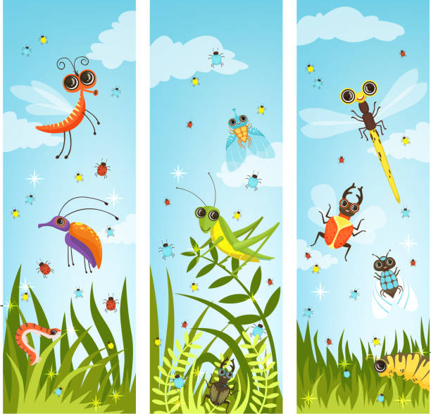 vertical web banners with illustrations of cartoon insects - bugs stock illustrations