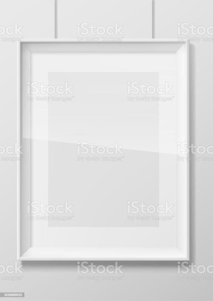 Vertical white photo frame with glass vector art illustration
