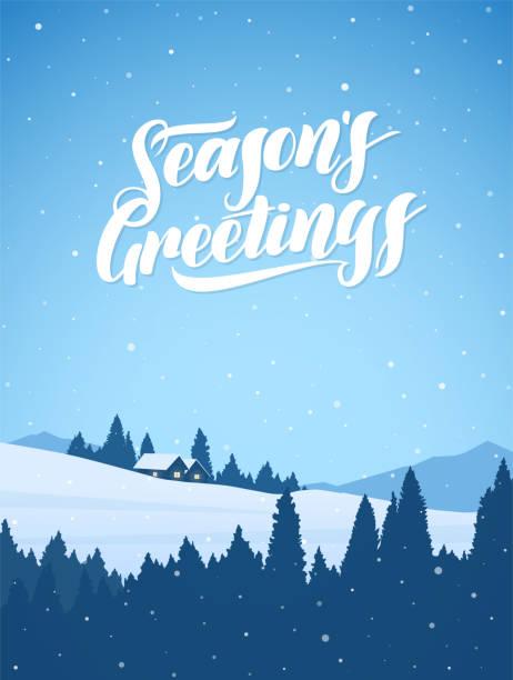 stockillustraties, clipart, cartoons en iconen met verticale besneeuwde bergen kerst winterlandschap met cartoon huizen en handgeschreven letters van season's greetings. - christmas cabin