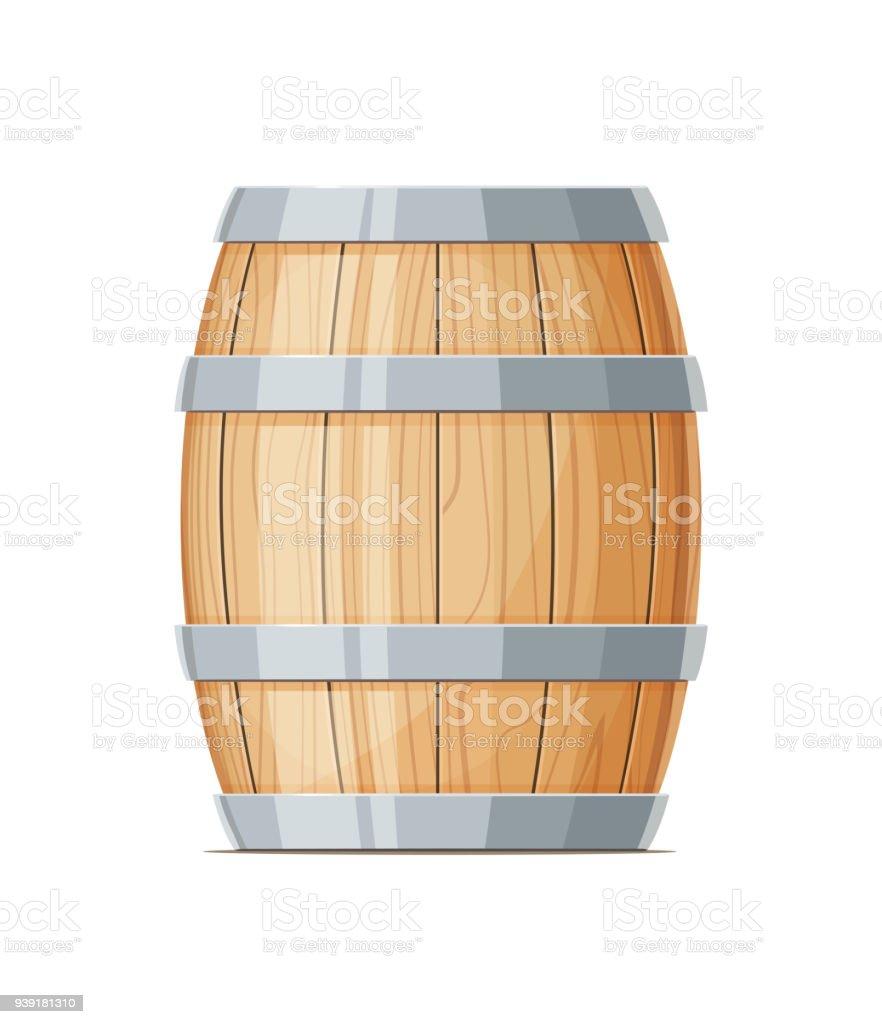 Vertical Wooden barrel for wine or beer vector art illustration