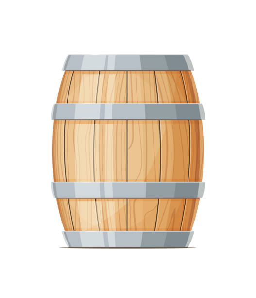 Vertical Wooden barrel for wine or beer vector art illustration