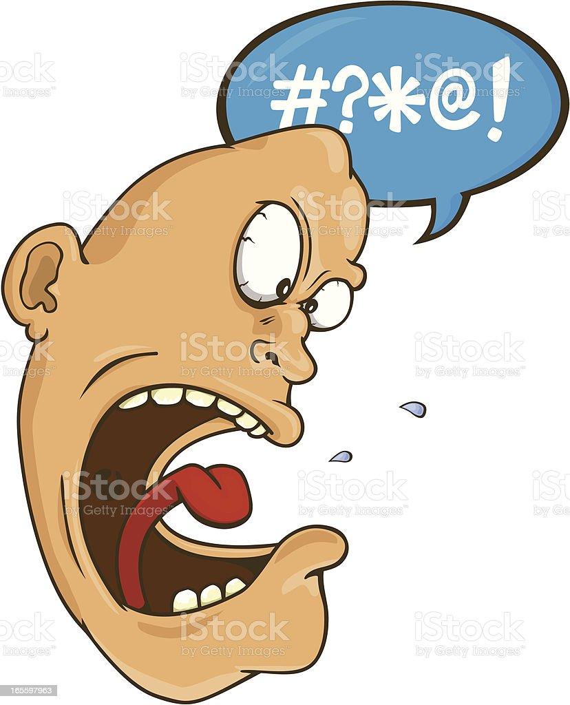 Muy enfadado cursing cabeza de un hombre ilustración de muy enfadado cursing cabeza de un hombre y más banco de imágenes de boca humana libre de derechos
