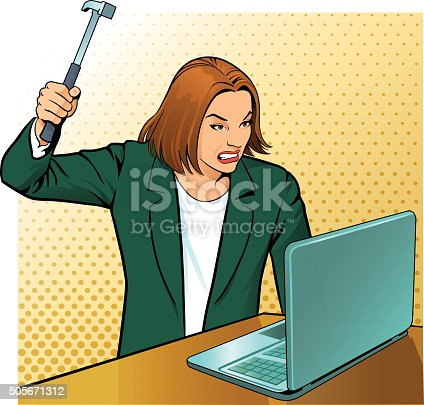 istock Very Angry Office Worker 505671312