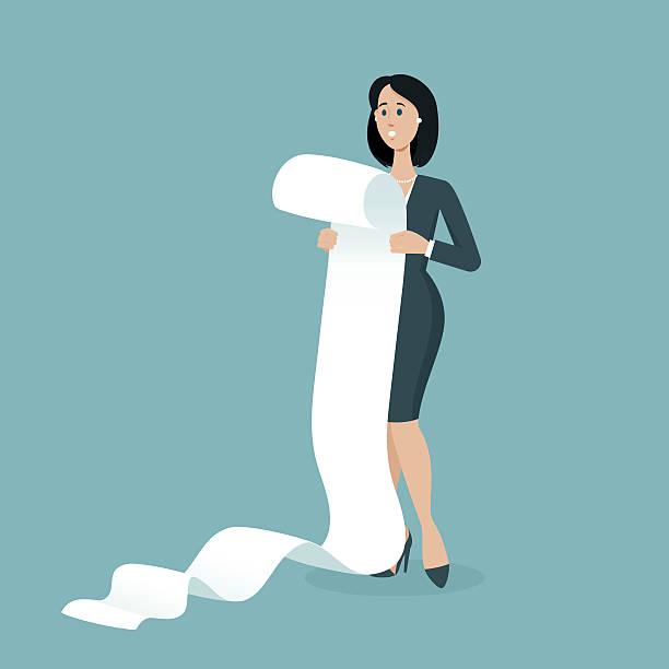 ilustrações, clipart, desenhos animados e ícones de very big list with tasks - longo