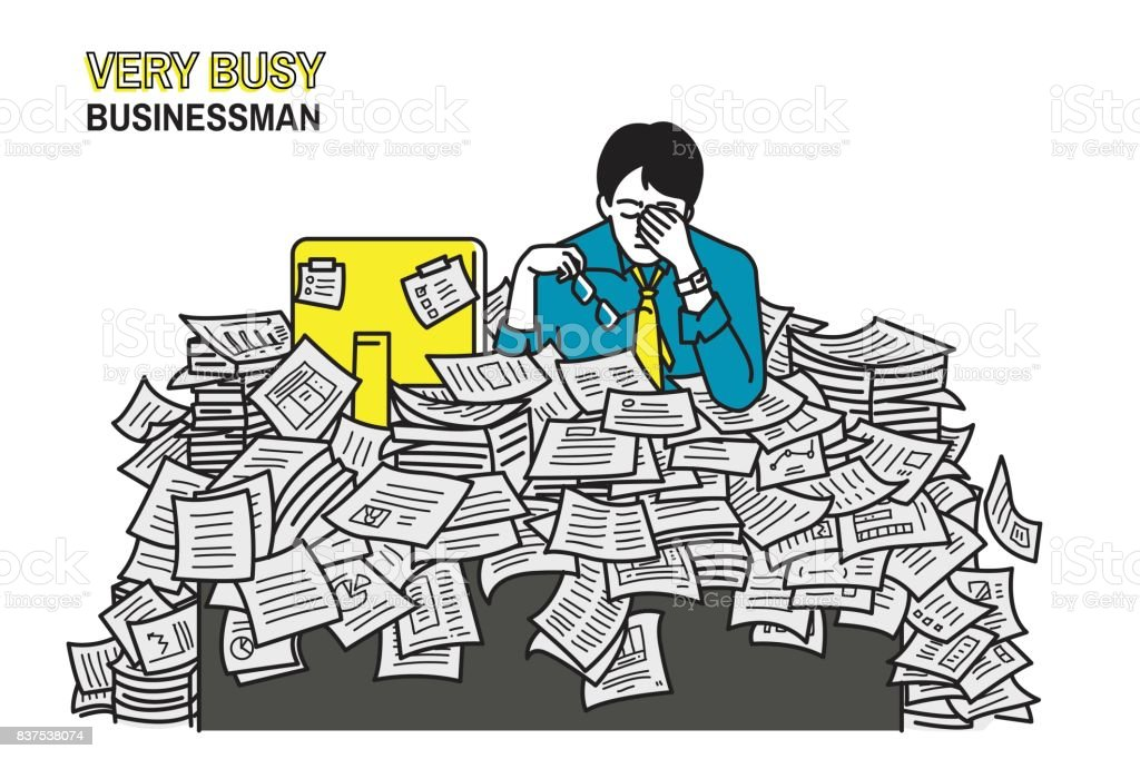 Very busy businessman vector art illustration