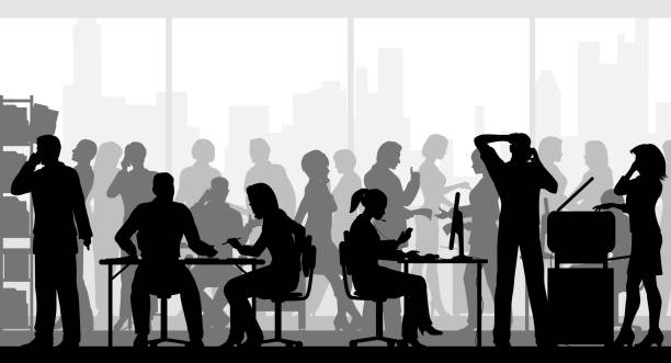 Very busy office Editable vector silhouettes of people in a crowded busy office with all figures as separate objects busy stock illustrations