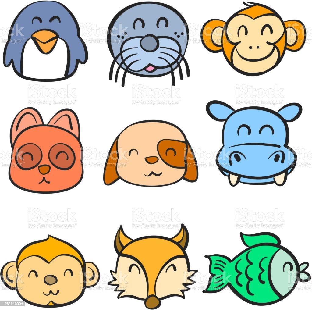 Very cute animal head doodles vector illustration royalty-free very cute animal head doodles vector illustration stock vector art & more images of animal