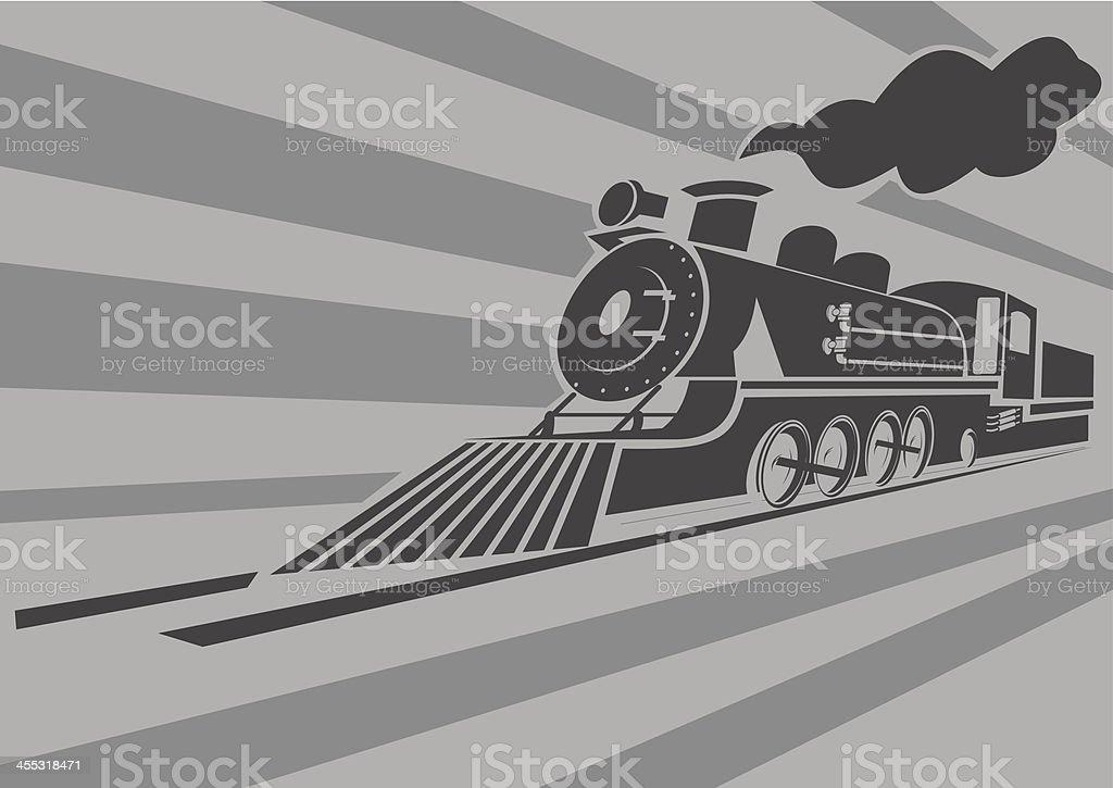 Very fast old steam train vector art illustration