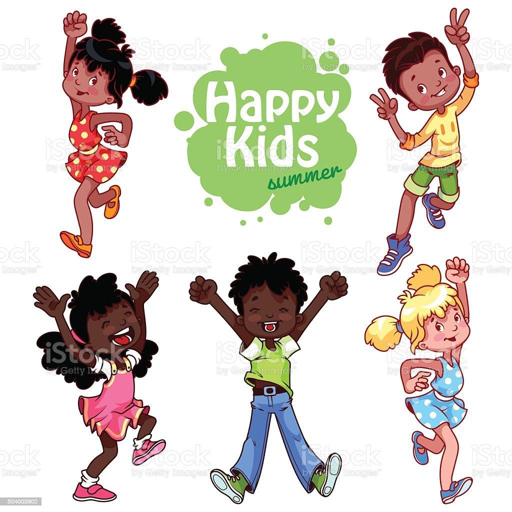 Very happy children on a white background. vector art illustration
