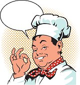 Very Happy Cook with Speech Balloon