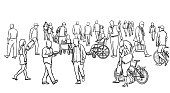 istock Very Large Crowd Sketching 1278898231
