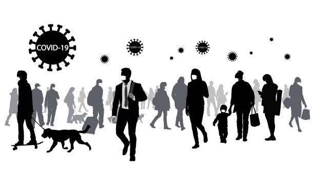 illustrazioni stock, clip art, cartoni animati e icone di tendenza di very large crowd walking covid-19 - businessman covid mask