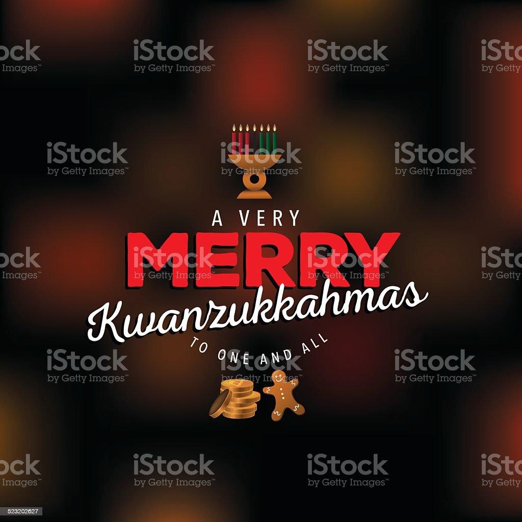 Very merry Kwanzukkahmas design - ilustração de arte em vetor