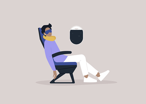 A very relaxed male character sleeping onboard, travel concept, a neck pillow and a mask for comfortable rest during the flight