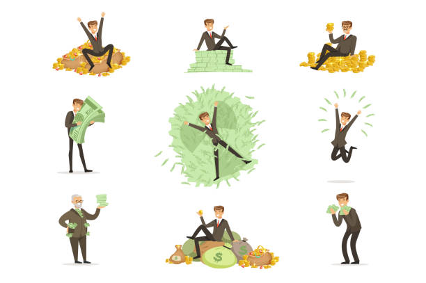 Very Rich Man Bathing In His Money, Happy Millionaire Magnate Male Character Series Of Illustrations Very Rich Man Bathing In His Money, Happy Millionaire Magnate Male Character Series Of Illustrations. Banker And HIs Riches In Paper And Coins Life Situations. millionnaire stock illustrations