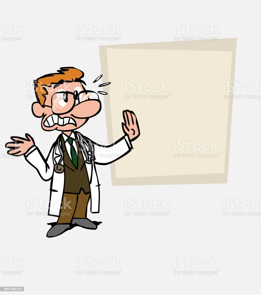 Very scared White doctor with glasses. Is showing, as in a presentation, the data you want. royalty-free very scared white doctor with glasses is showing as in a presentation the data you want stock vector art & more images of care