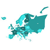 Very simplified infographical political map of Europe in green color scheme. Simple geometric vector illustration.