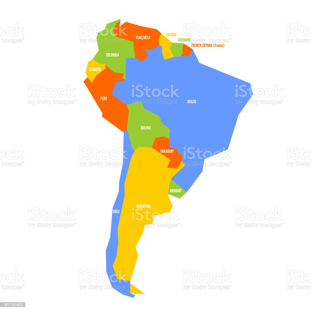 Very Simplified Infographical Political Map Of South America Simple ...
