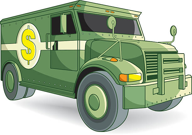 very strong armored car vector art illustration