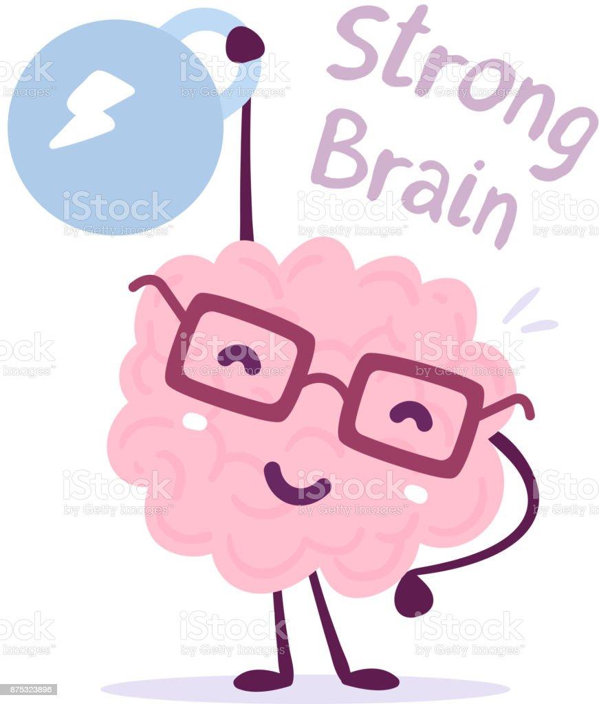 非常に強い漫画脳の概念落書きスタイル白い背景の上のガラス簡単リフト