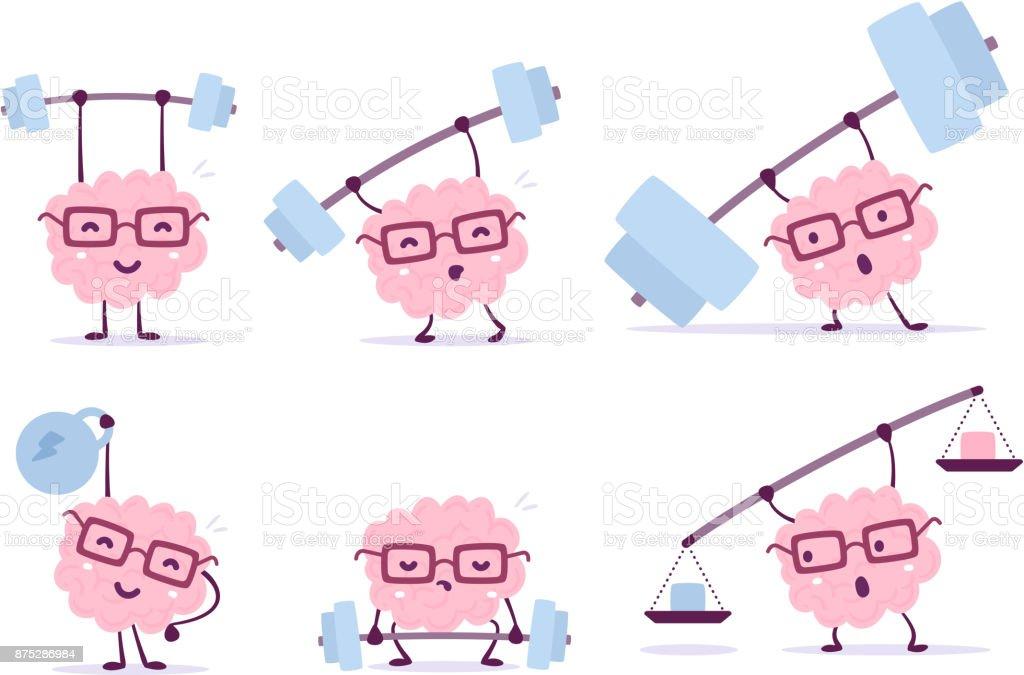 Concepto de cerebro de dibujos animados muy fuerte. Conjunto de vector de ilustración de cerebro de sonrisa de color rosa con gafas ascensores barra de peso sobre fondo blanco. - ilustración de arte vectorial