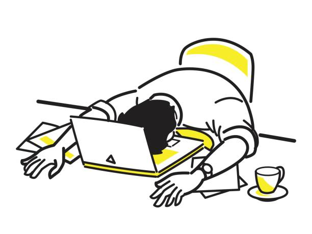 illustrazioni stock, clip art, cartoni animati e icone di tendenza di very tired at work - uomo stanco