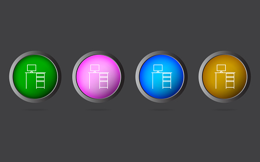 Very Useful Editable Computer Table Line Icon on 4 Colored Buttons.