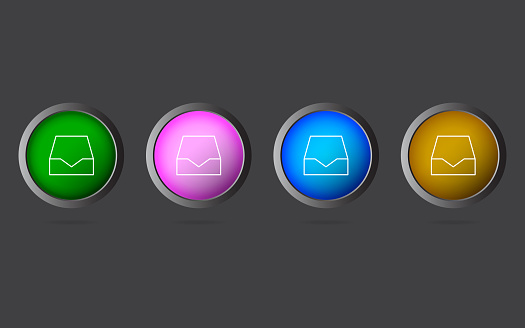 Very Useful Editable Drawer Line Icon on 4 Colored Buttons.