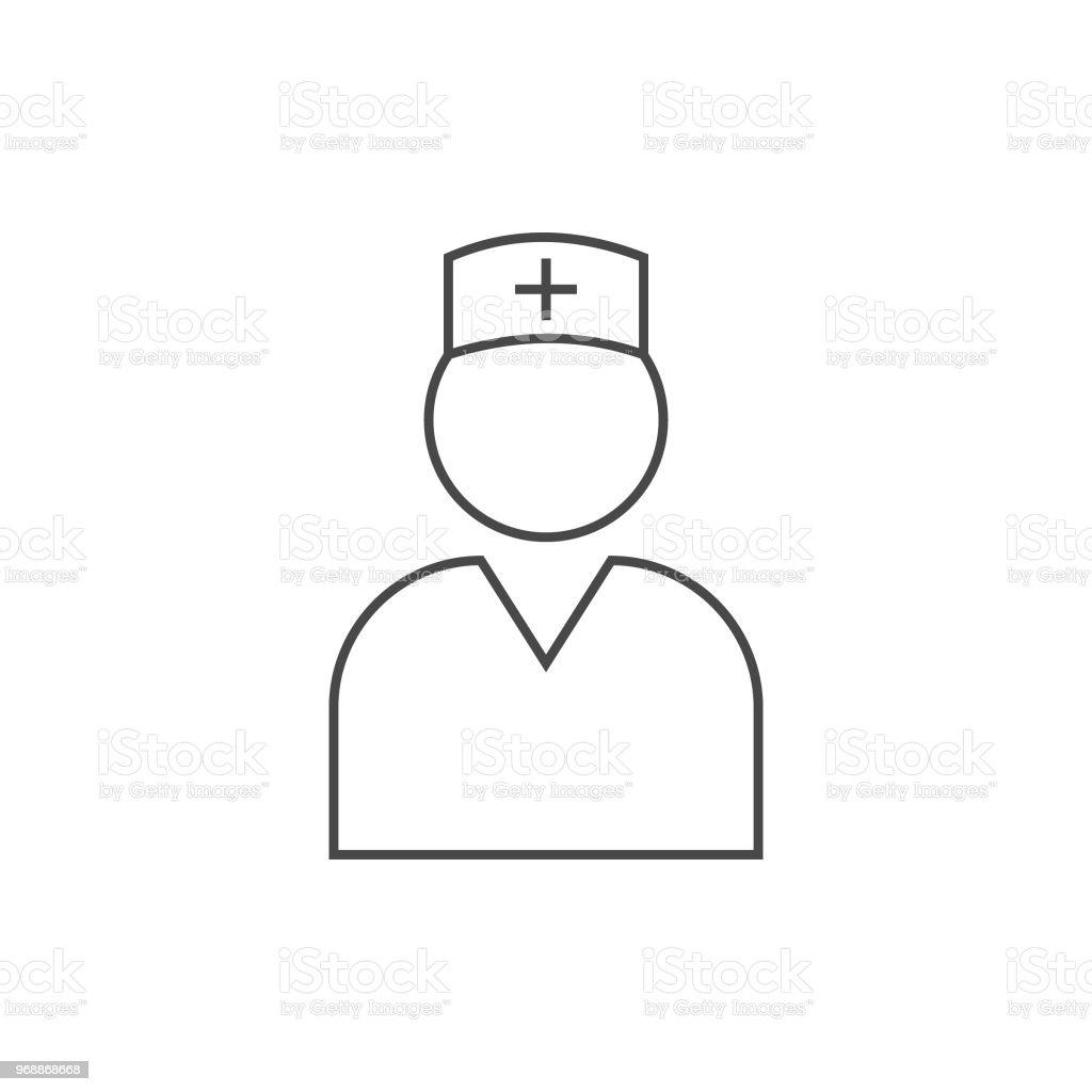 Sehr nützliche Krankenschwester Liniensymbol. – Vektorgrafik