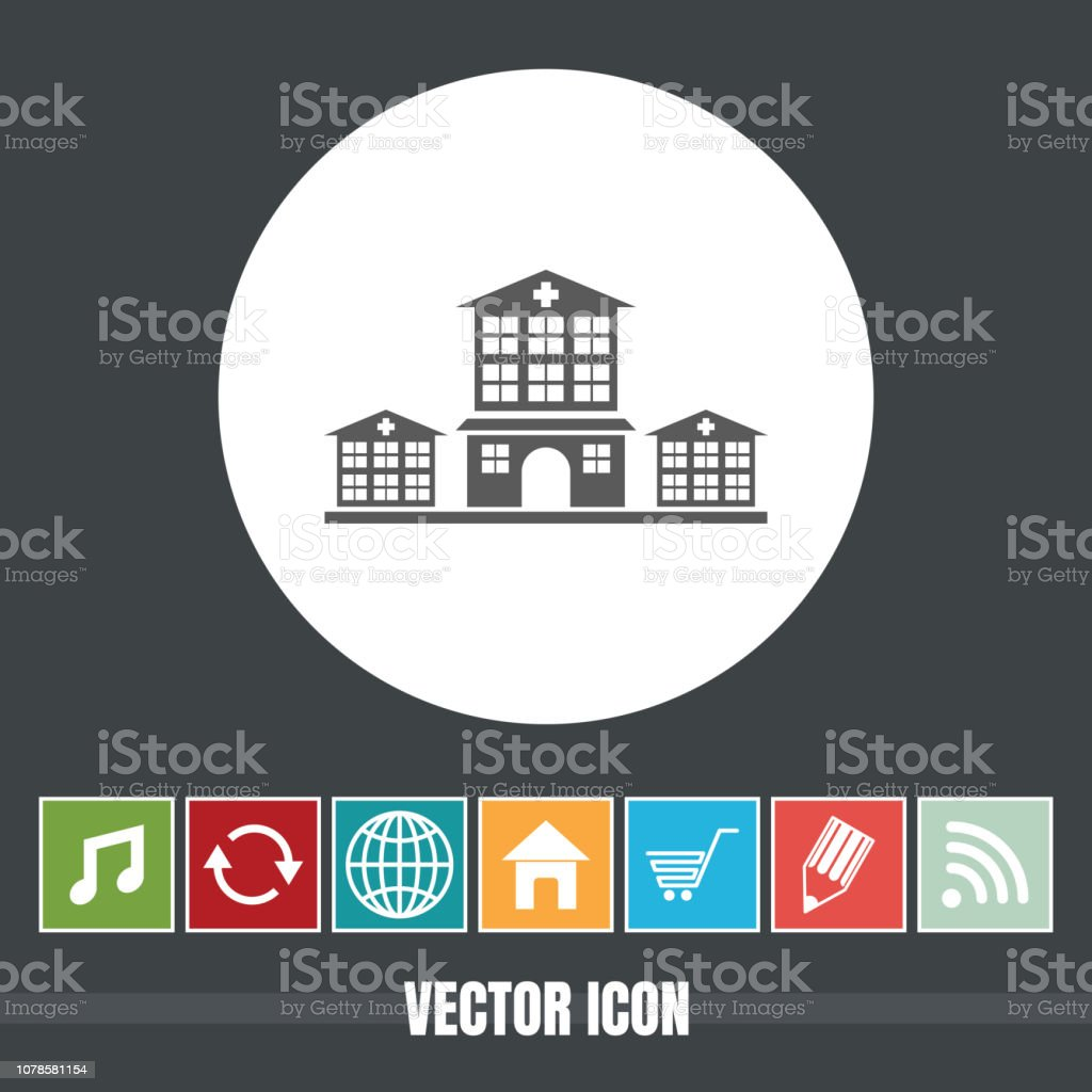 Very Useful Vector Icon Of Hospital With Bonus Icons Very Useful For