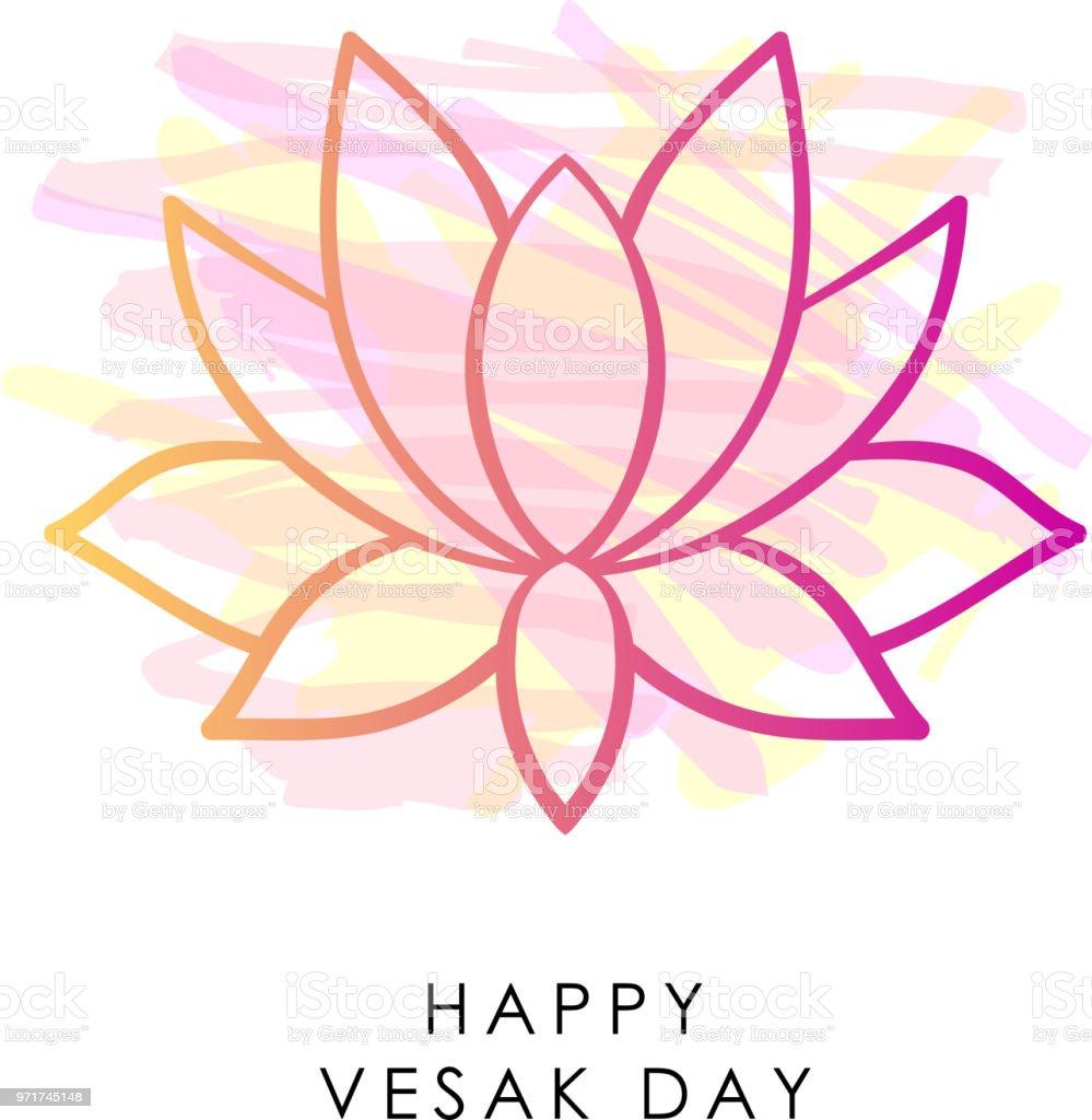 Vesak Background Vector Lotus Pink Lotus Flower Vesak Design