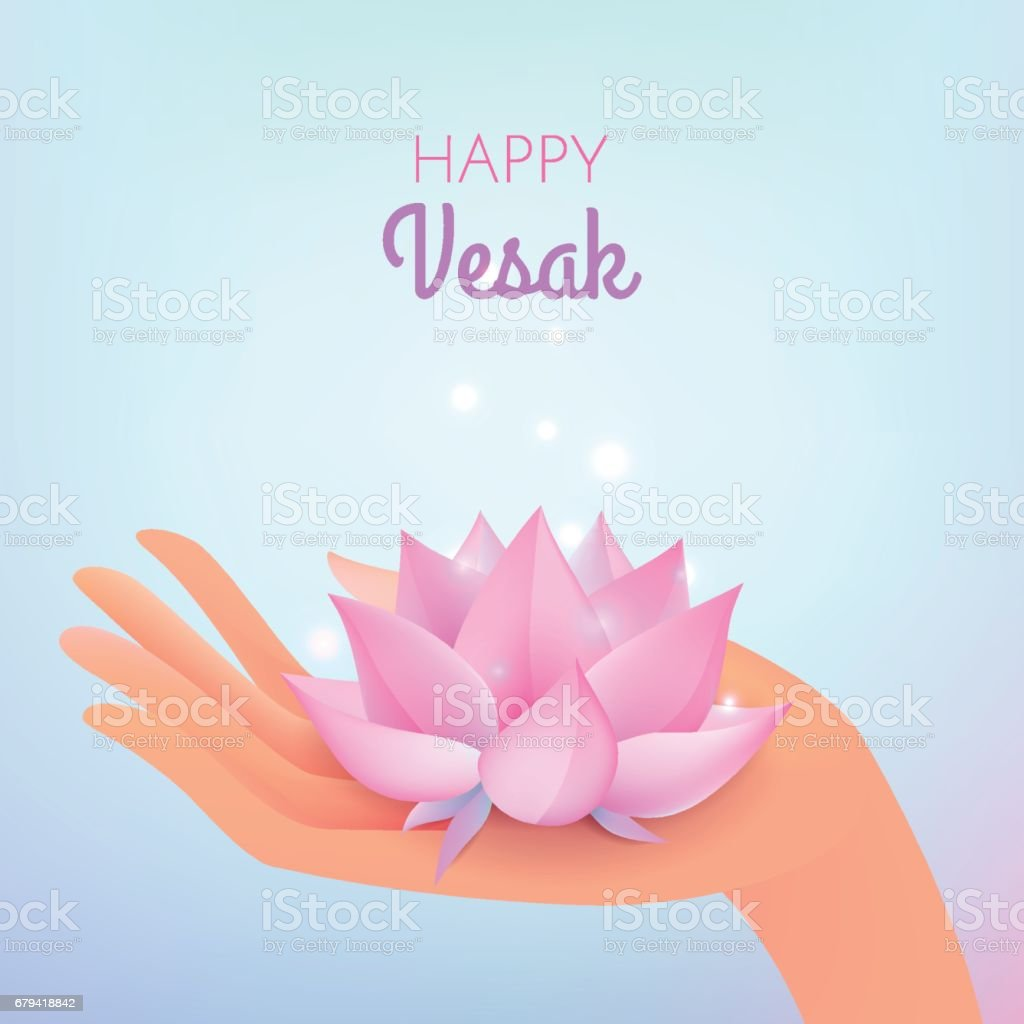 Vesak card. Vector illustration with elegant hand and lotus flower royalty-free vesak card vector illustration with elegant hand and lotus flower stock vector art & more images of asia