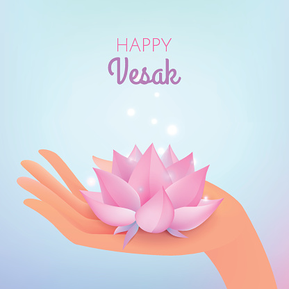 Vesak card. Vector illustration with elegant hand and lotus flower