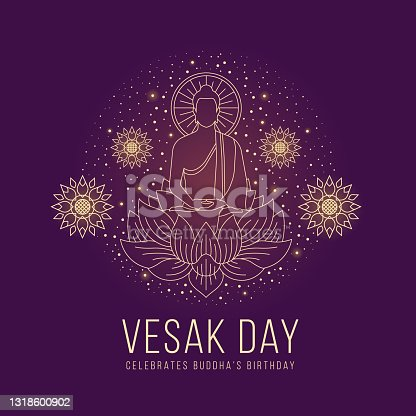 istock Vesak day - abstract line The Lord Buddha meditated on lotus sign and around with lotus flower and dot star light on purple background vector design 1318600902