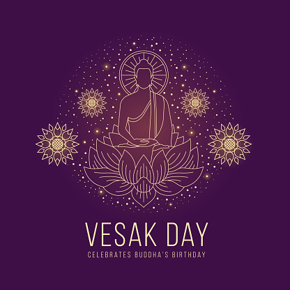 Vesak day - abstract line The Lord Buddha meditated on lotus sign and around with lotus flower and dot star light on purple background vector design