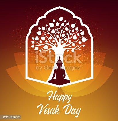 Vesak Day holiday. Buddha sitting under Bodhi tree meditate in lotus pose. Buddhism religion vector poster. Happy Vesak Day birthday celebration, enlightenment and death of Buddha