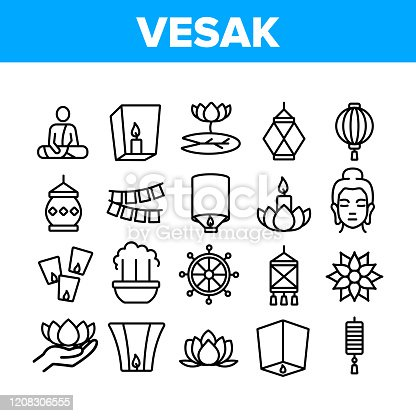 Vesak Day Buddhism Collection Icons Set Vector. Buddha Statue And Figure, Lotus Flower And Lantern, Candle And Flags Vesak Symbols Concept Linear Pictograms. Monochrome Contour Illustrations