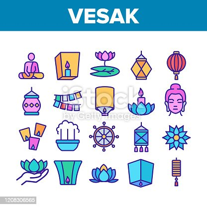 Vesak Day Buddhism Collection Icons Set Vector. Buddha Statue And Figure, Lotus Flower And Lantern, Candle And Flags Vesak Symbols Concept Linear Pictograms. Color Illustrations