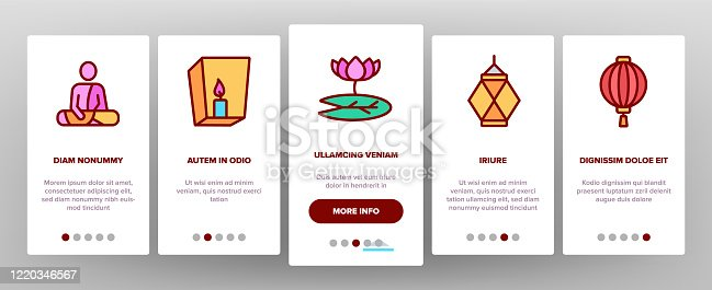 Vesak Day Buddhism Onboarding Icons Set Vector. Buddha Statue And Figure, Lotus Flower And Lantern, Candle And Flags Vesak Illustrations