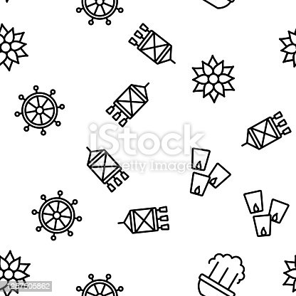 Vesak Day Buddhism Vector Seamless Pattern Thin Line Illustration