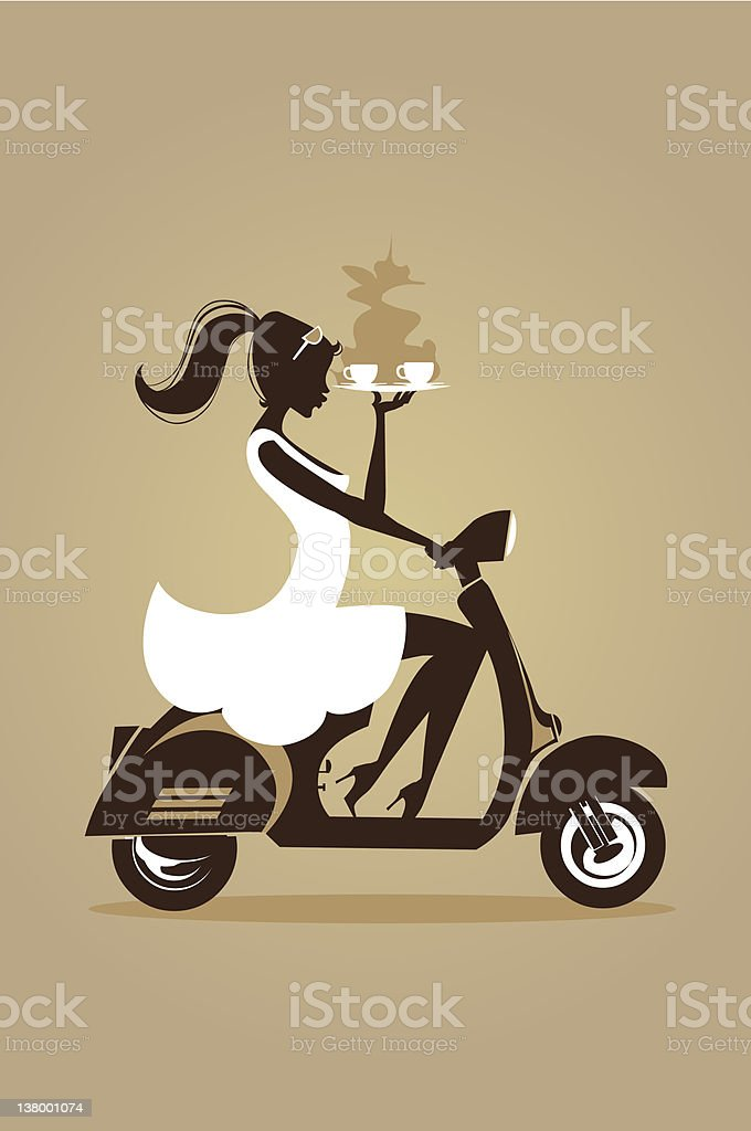 Vespa Girl Coffee Cup royalty-free stock vector art