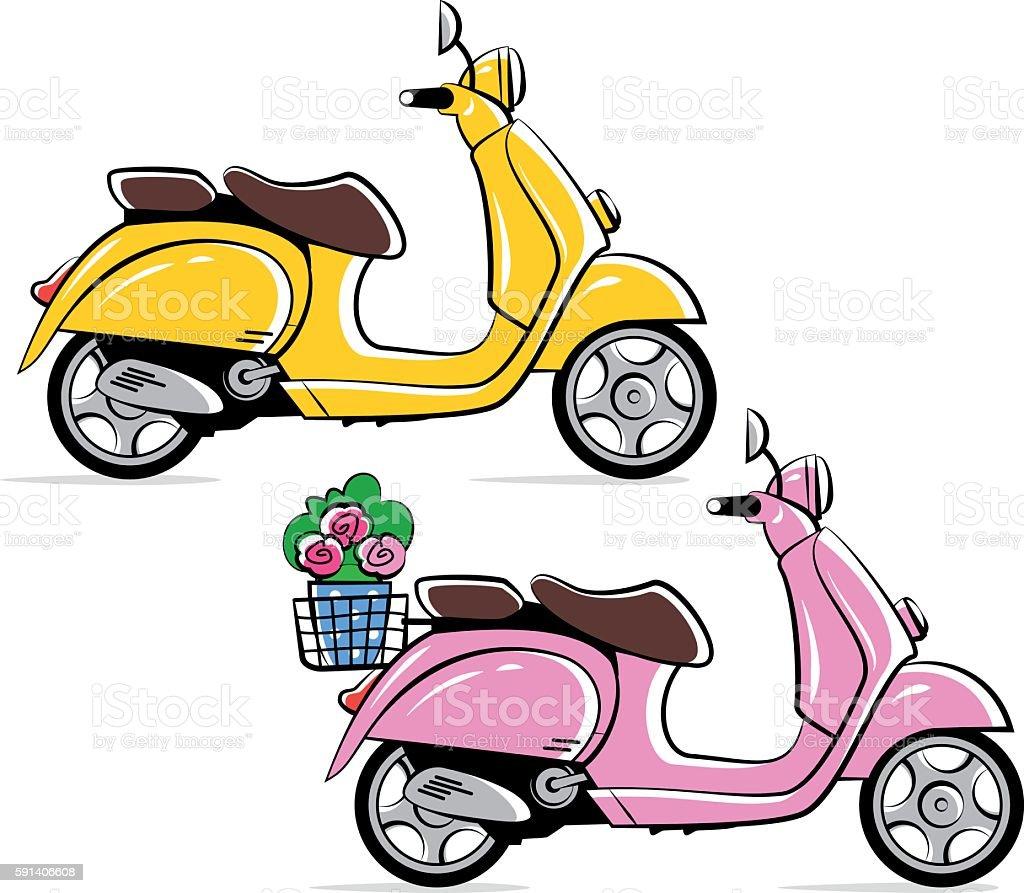 Vespa motorbikes vector art illustration