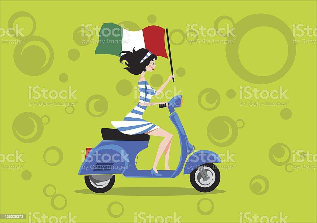 Vespa Piaggio Scooter wirh Italian Girl vector art illustration